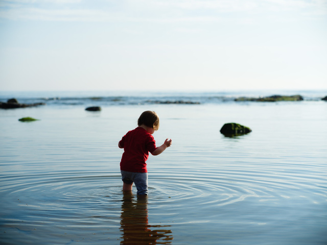 A toddler wades into a still tide pool. The water ripples out from his legs as he looks down and balances himself.